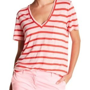 J Crew striped linen v-neck T $36.50